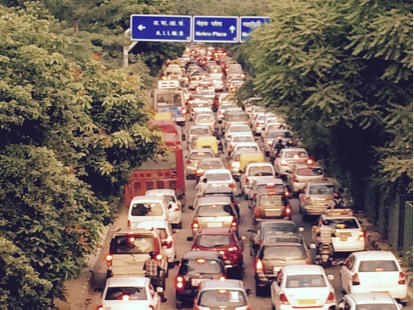 Heavily congested signal free Outer Ring Road in Delhi. It is not possible for any ambulance or police car to find its way through this section.