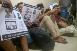 Striking FTII students. Photo from the FTII Wisdom Tree page