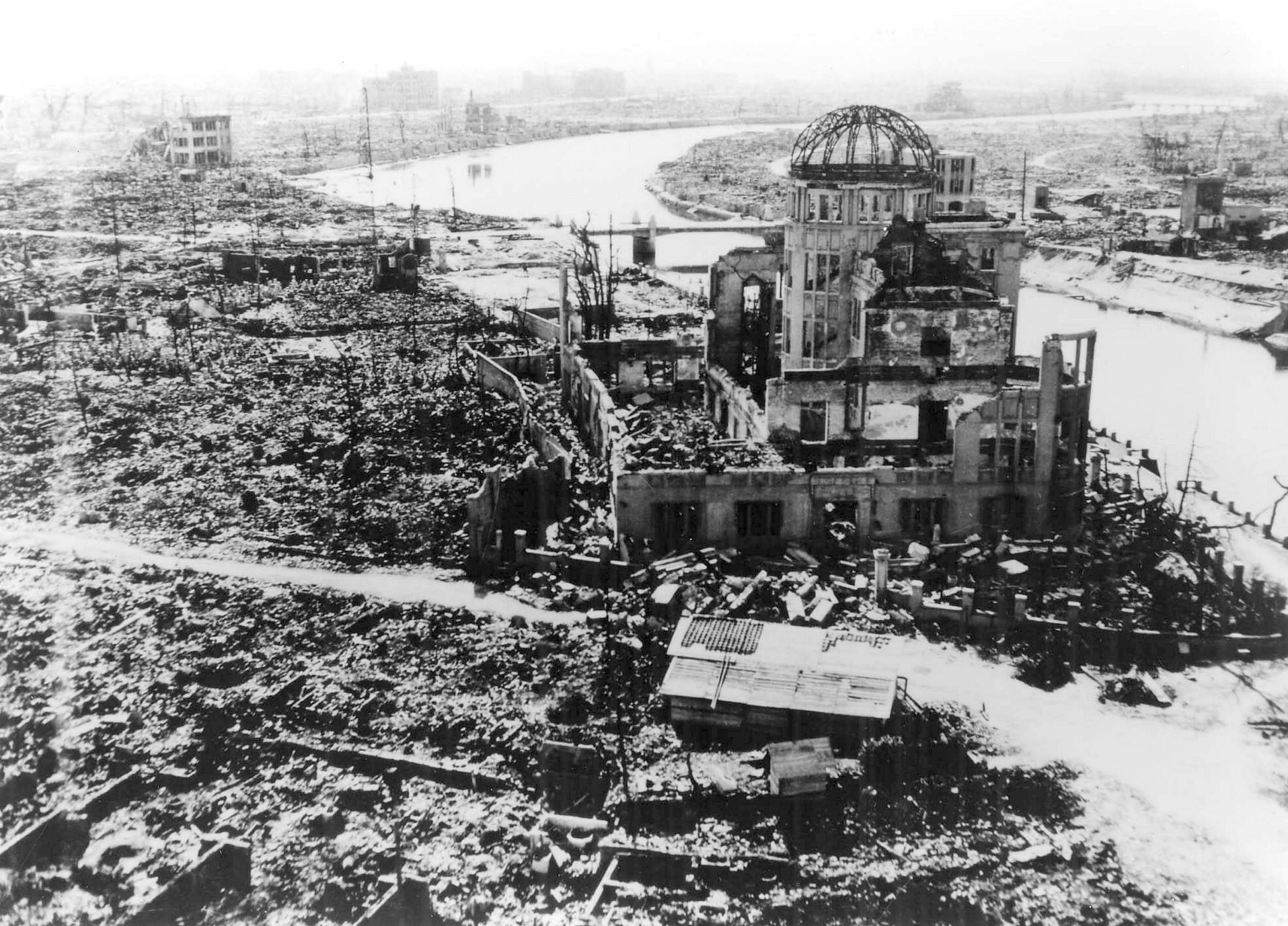 Hiroshima photographed by the US military following the dropping of the atomic bomb that killed over 140,000 people on August 6, 1945. The building, originally the Hiroshima Prefectural Industrial Promotion Hall, was just160 meters northwest of the hypocentre. The skeletal structure of the dome standing above the citiy's ruins was a conspicuous landmark and has now became known officially as the A-bomb Dome. Credit: Hiroshima Peace Memorial Museum.