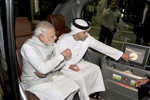 Prime Minister Narendra Modi taking a tour of the Masdar city, a hub of clean technology, in Abu Dhabi. PTI Photo