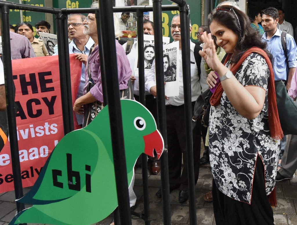 Civil rights activist Teesta Setalvad after recording her statement before the Central Bureau of Investigation in Mumbai earlier this month. The agency is accused of using allegations of minor foreign exchange violations to harass Setalvad because of her role in a case against Narendra Modi. Credit: PTI Photo by Santosh Hirlekar