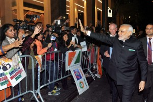 Narendra Modi being greeted on his arrival in New York. Credit: PTI Photo