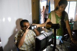 Collecting iris scans for the Aadhaar Card. Photo: Kannanshanmugham