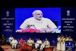 Prime Minister Narendra Modi at an interaction with school children on the eve of Teacher's Day at Manekshaw Centre, in New Delhi on Friday. Credit: PTI Photo by Atul Yadav