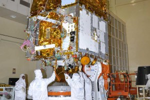 Instruments of the ASTROSAT being inspected at the ISRO Satellite Centre. Credit: ISRO