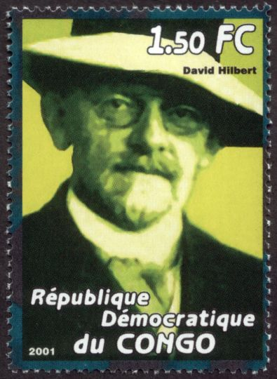 David Hilbert, commemorated by the Democratic Republic of Congo in this postage stamp issued in 2001