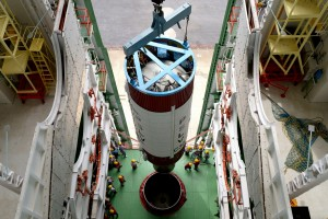 Hoisting of the PSLV C-30 second stage during vehicle integration. Source: ISRO