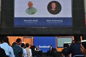 Modi and Zuckerberg in conversation. Credit: MEA