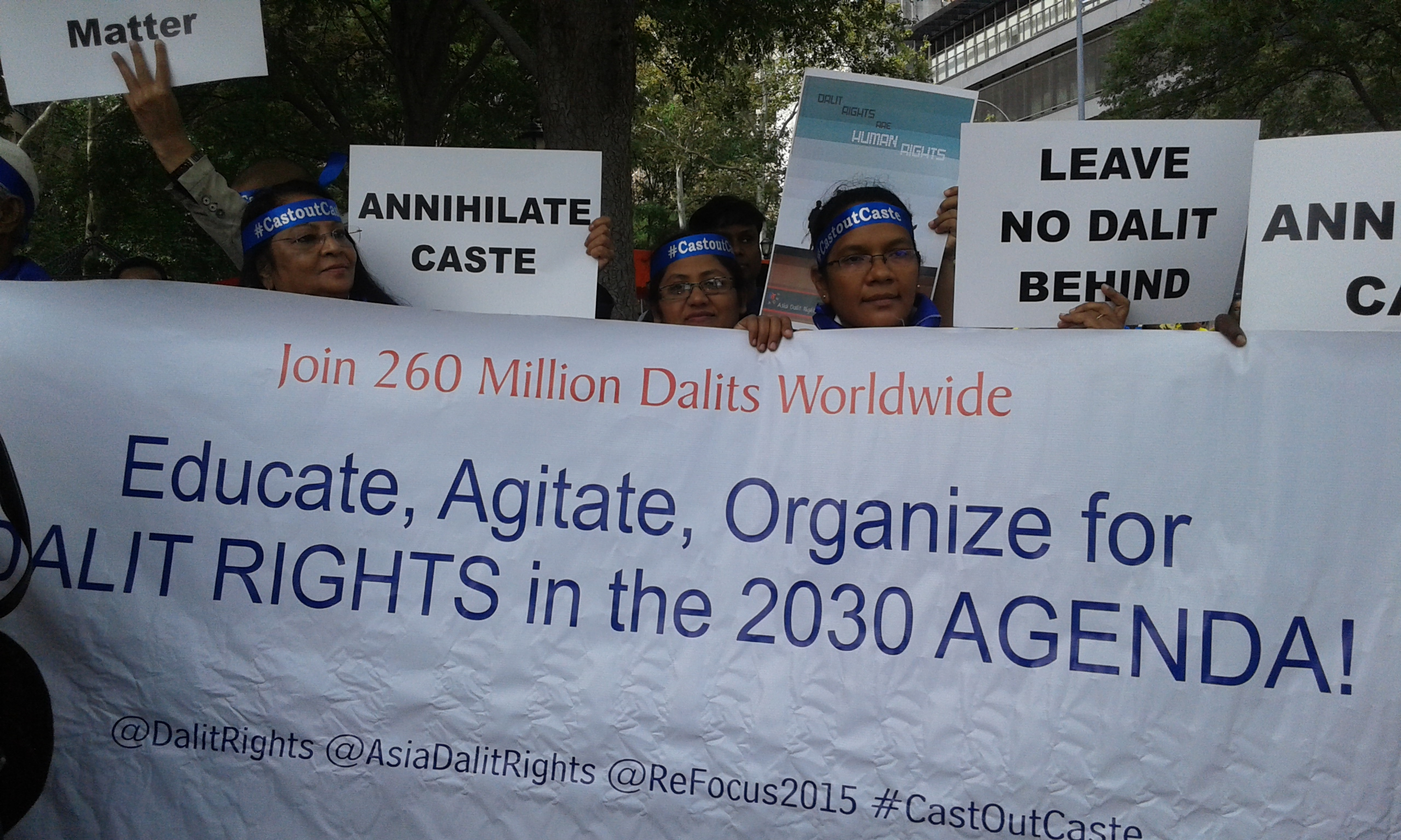 A view of the protest organised by Dalit groups outside the UN in New York. Credit: Urvashi Sarkar