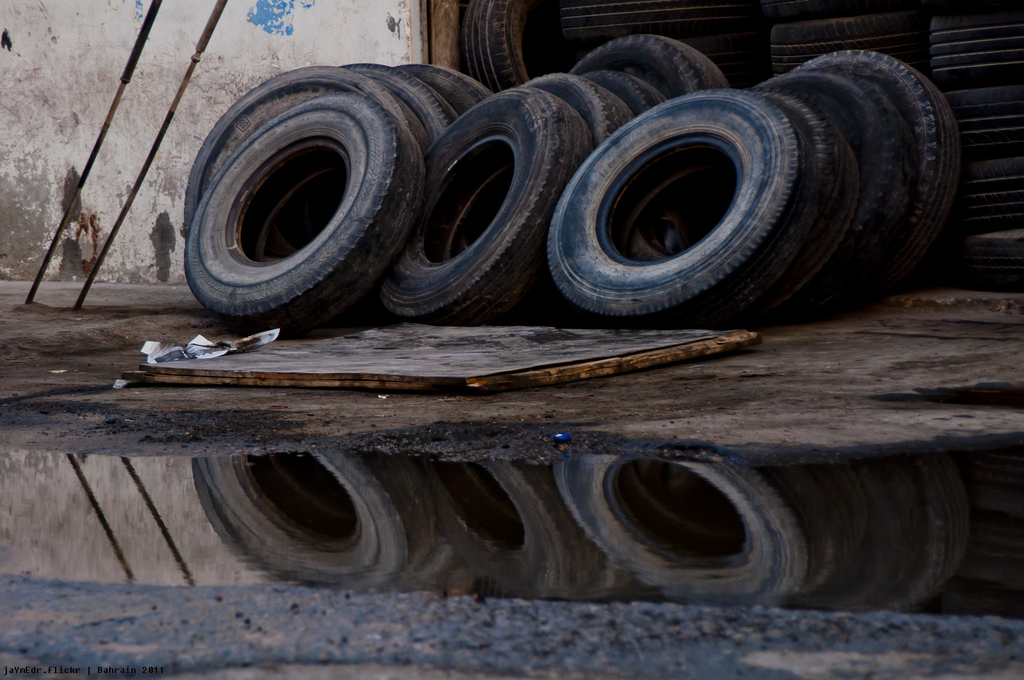 Old tires are a favourite breeding spot for the Aedes. Credit: Jayme del Roasario/Flickr CC 2.0