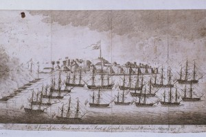 "A view of Geriah as it was taken by the British fleet under the command of the Admirals Watson and Pocock 13 February 1756,"" by M. Hore and W. Tringham"