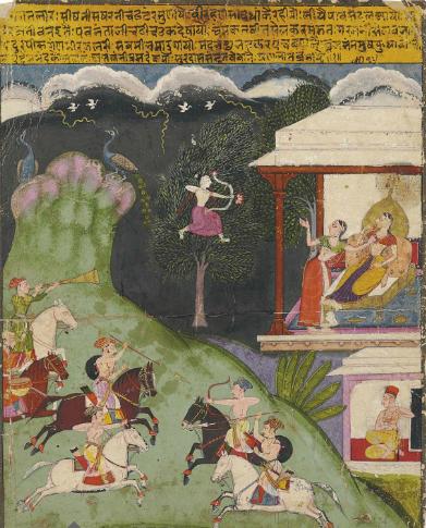 An illustration to the Sursagar of Surdas., Mewar, mid-17th century. Credit: Christies