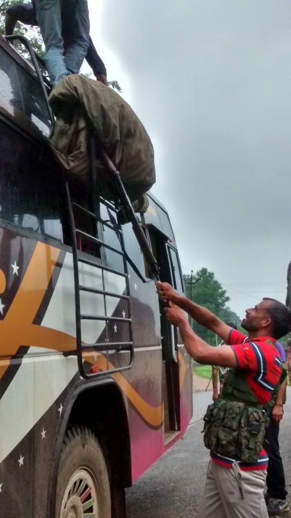 Some CRPF men going home for Dusshera. Credit: Raksha Kumar