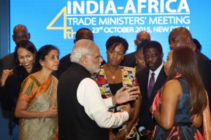 Prime Minister Narendra Modi talks with the delegates of African countries before a dinner at the India-Africa Trade Ministers' Meeting 2015 in New Delhi on Friday.  Credit: PTI