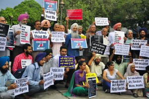 Punjabi writers and academic party members protest against intolerance in sector 17 Chandigarh. Credit: Special Arrangement