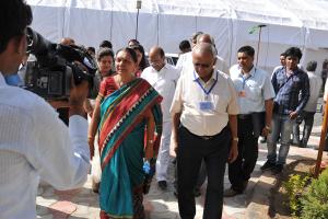 File photo of Anandiben Patel, Chief Minister of Gujarat. Credit: Rai University