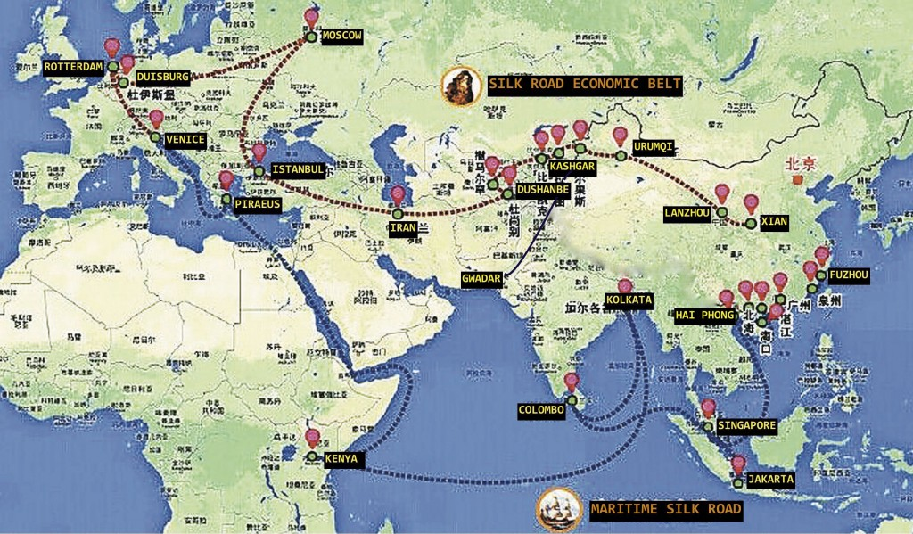 Chinese map marking out the important routes and cities involved in the Belt-Road Initiative.
