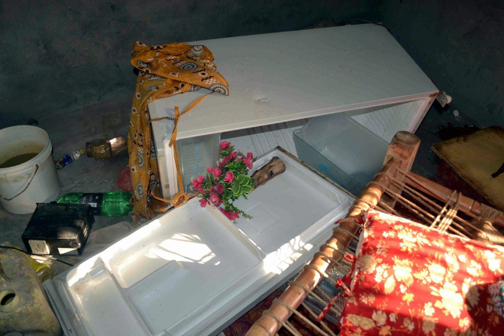 WATCH WHAT YOU EAT: The remains of the Akhlaq family's fridge after a mob attacked the house. Credit: PTI