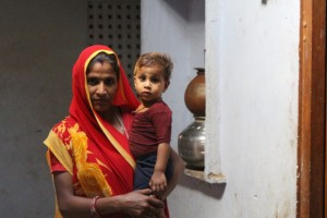 Mali Devi with her two-year-old—and second—daughter Khushi at their home in Dolatpura Kotda, 35 km north-east of Jaipur, Rajasthan's capital. The panchayat is one of 30 where more girls were born than boys over the last year, a historic achievement in a state with India's fifth-worst child sex-ratio. Credit: Devanik Saha