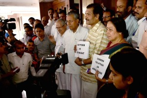 Kerala MPs stage protest outside Kerala House over  the beef controversy in New Delhi on Tuesday. Credit: PTI Photo by Atul Yadav
