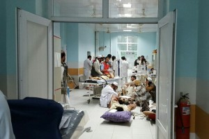 People seeking treatment at the MSF centre in Kunduz in September 2015, before the structure was 'mistakenly' bombed by an American aircraft on October 3, 2015. Source: msf.org