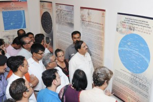 """Minister of State for Culture,  Mahesh Sharma visiting the Unique Exhibition on """"Cultural Continuity from Rigveda to Robotics"""", in New Delhi on September 17, 2015. Credit: hinduexistence.org"""