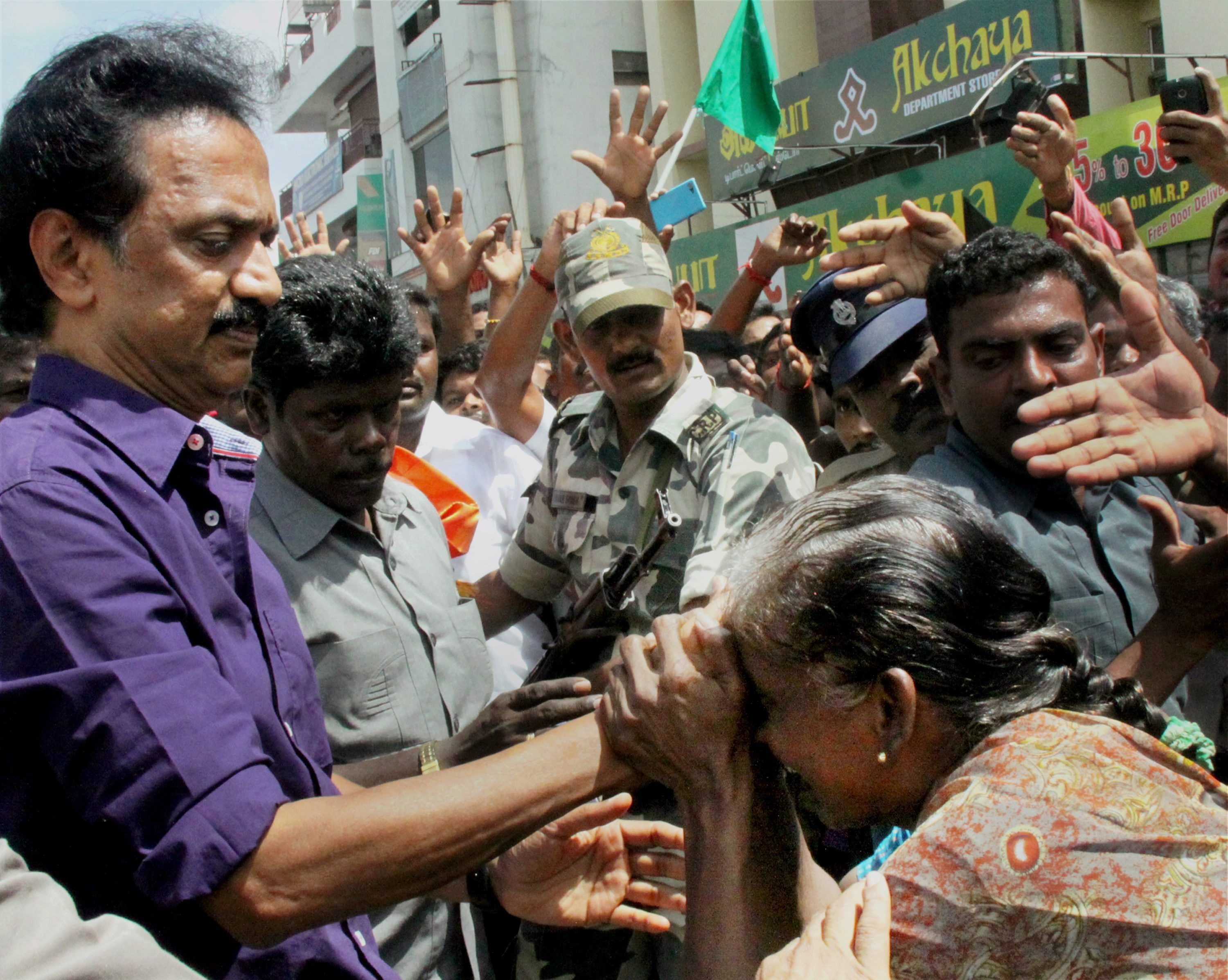DMK treasurer MK Stalin during the election campaign for 2016 assembly polls, in Tirupur on Sunday. Credit: PTI