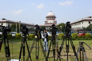 Cameras lined up before the Supreme Court waiting for the verdict of the day. Credit: Meeta Ahlawat