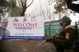 A CRPF jawan stands guard outside the venue of Narendra Modi''s forthcoming rally outside the Sher-e-Kashmir Stadium in Srinagar on Thursday. Credit: PTI
