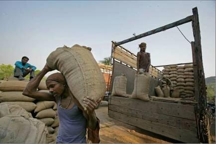 Worker unloads sack of rice husk. Credit: Land Rover Our Planet/Flickr