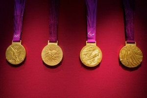 Olympic medals from the 2012 games on display at the British Museum, London. Credit: pahudson/Flickr, CC BY 2.0