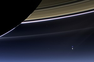 A stunning image of Saturn's rings, Earth and its moon in a single frame, captured by the Cassini satellite in July 2013. Credit: NASA Goddard Spaceflight Centre
