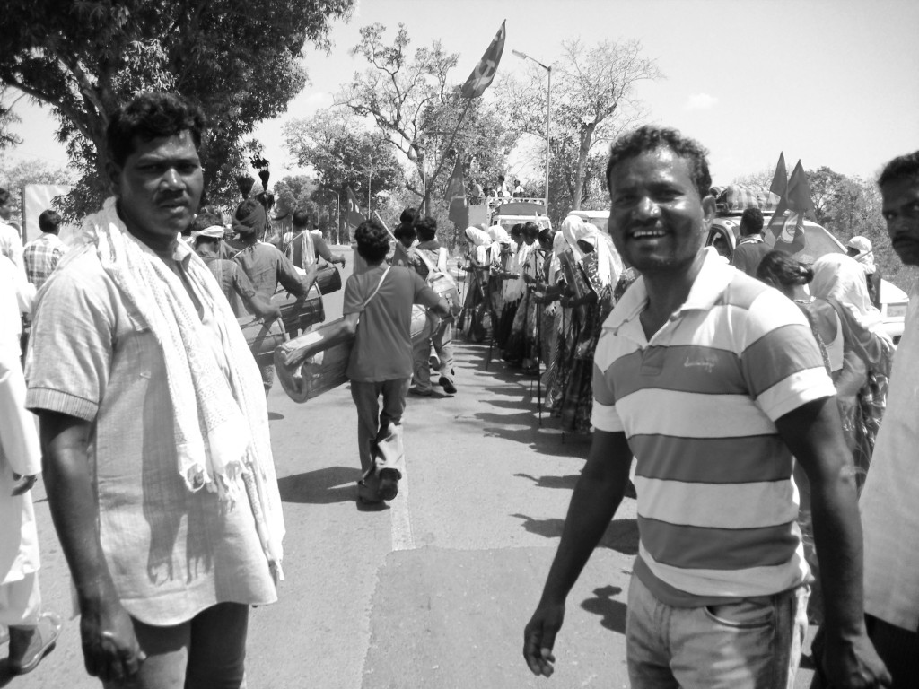 Manish Kunjam, right, former MLA and president of the Adivasi Sabha, at a rally organised by the CPI in Bastar