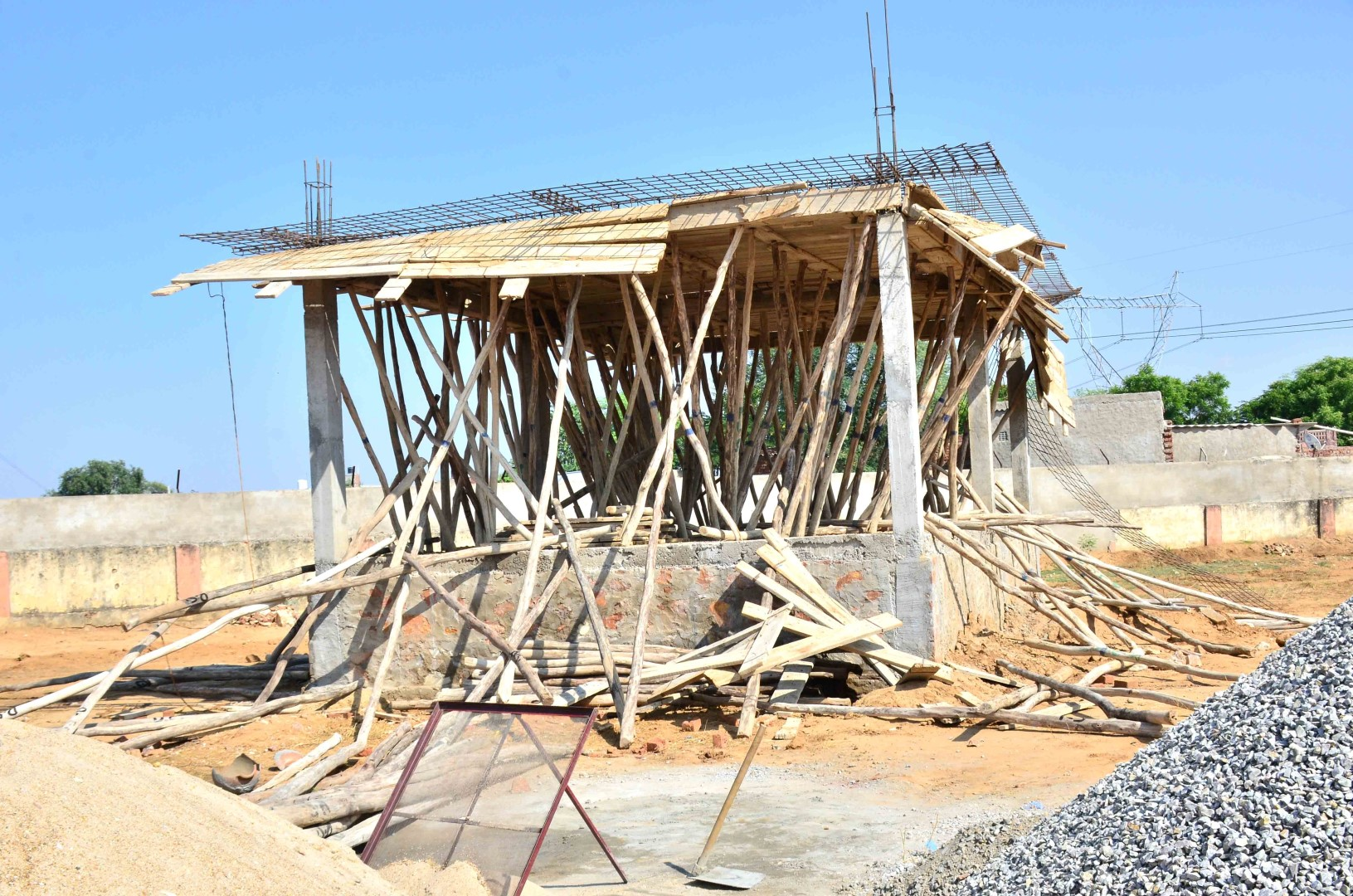 The under-construction large prayer hall that was damaged in the incident. Credit: Special Arrangement
