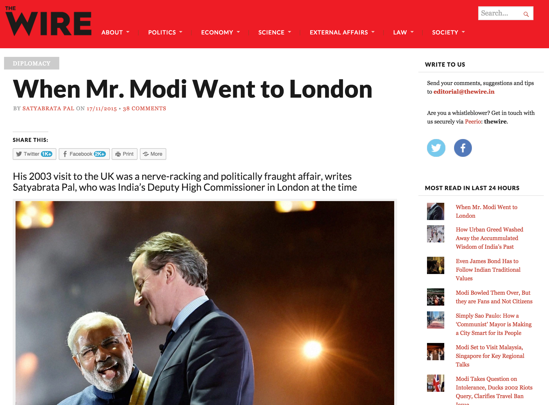 Facebook Apologises for Blocking The Wire's Article on Modi