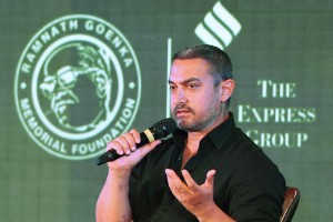 Actor Aamir Khan speaks at the 8th edition of Ramnath Goenka Excellence in Journalism Awards in New Delhi on Monday. Credit: PTI Photo by Shahbaz Khan