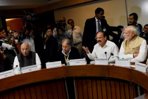 Parliamentary Affairs Minister Venkaiah Naidu addresses the all-party meeting while Prime Minister Narendra Modi, Union Home Minister Rajnath Singh, Congress Leaders Mallikarjun Kharge and  Ghulam Nabi Azad look at,  on the eve of  the winter session at Parliament House in New Delhi on Wednesday. Credit: PTI