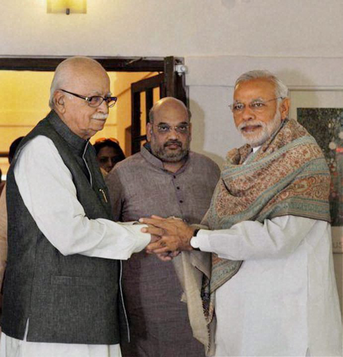 The Patriarch's Revolt: Even as the Bihar results debacle unfolded, the two architects of the BJP's disastrous campaign – Prime Minister Narendra Modi and party president Amit Shah – went to meet senior BJP leader LK Advani on the occasion of his 88th birthday in New Delhi on Sunday. Credit: PTI
