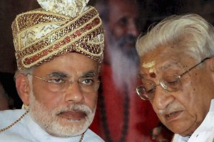 New Delhi: **FILE** A file photo of VHP President Ashok Singhal with the then Gujarat Chief Minster Narendra Modi in Vrindavan in October 2010. Singhal passed away at Medanta Hospital in Gurgaon on Tuesday. PTI Photo  (PTI11_17_2015_000073B)