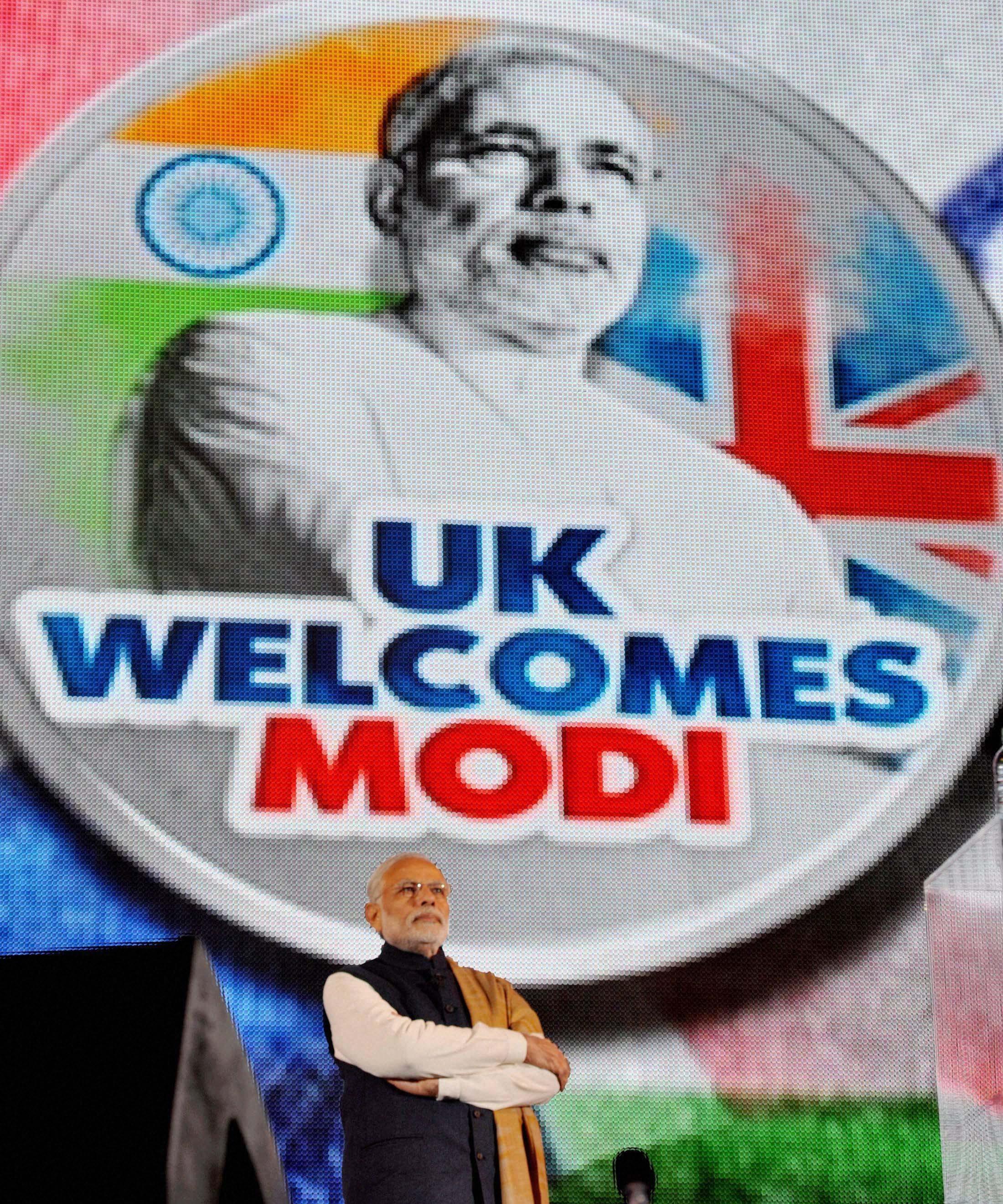 Prime Minister Narendra Modi at Wembley Stadium in London. Credit: PTI