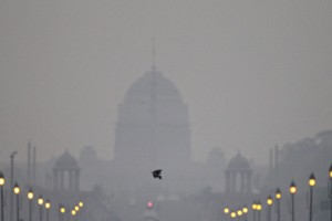 A view of Rashtrapati Bhavan enveloped in a blanket of smog, caused by a mixture of pollution and fog, in New Delhi in November 2012. Credit: PTI