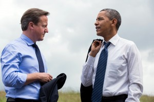 President Barack Obama and Prime Minister David Cameron of the United Kingdom talk during the G8 Summit at the Lough Erne Resort in Enniskillen, Northern Ireland, June 17, 2013. (Official White House Photo by Pete Souza)