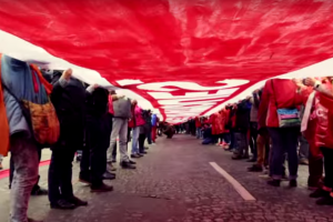 A scene from the 'Red Lines' march. Source: YouTube screengrab