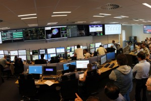 Inside one of the control centres of the collaborations working on the LHC at CERN. Each collaboration corresponds handles an experiment, or detector, stationed around the LHC tunnel. Credit: CERN