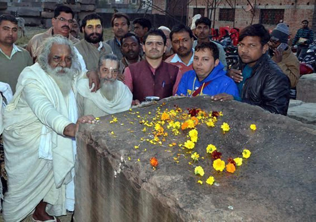 Priests perform 'shila pujan' of stones for construction of a Ram temple at the site of the nonw demolished Babri Masjid in Ayodhya, on Sunday. Credit: PTI