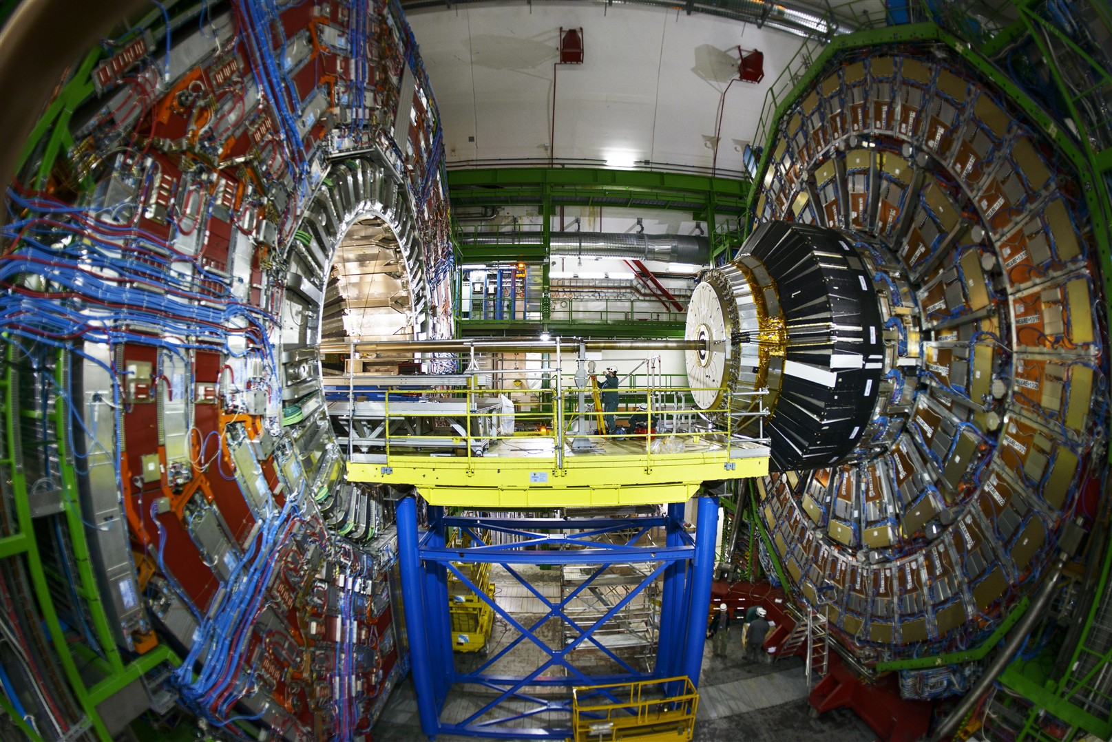Maintenance work underway at the CMS detector, the largest of the five that straddle the LHC. Credit: CERN