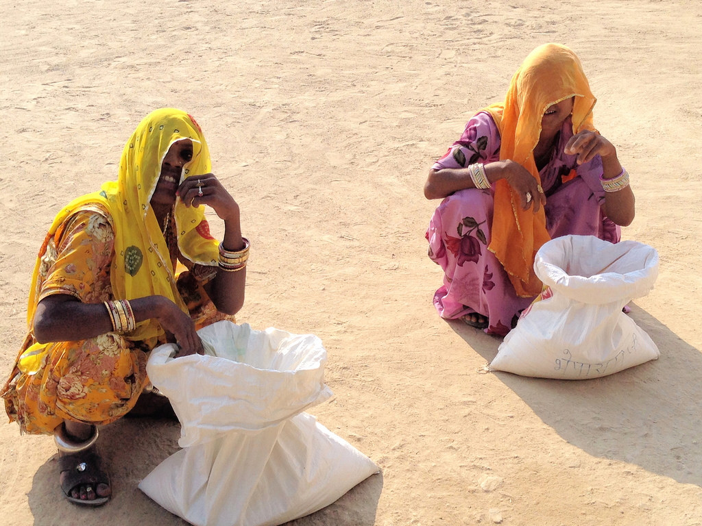 Together in scarcity: women collecting grain as part of a cooperative system in rural Jodhpur, 2013. Credit Owen Young/Flickr, CC BY 2.0