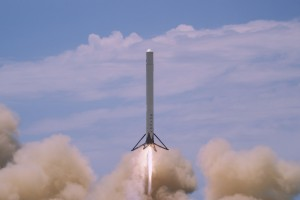 An F9R, a Falcon 9 prototype used during testing, in 2014. Credit: SpaceX