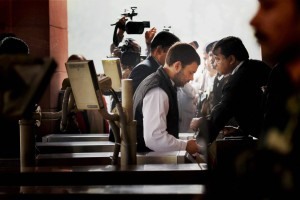 Congress Vice President Rahul Gandhi  during the winter session of Parliament in New Delhi on Thursday. Credit: PTI Photo by Subhav Shukla