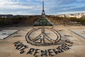 A view of Eiffel Tower aerial art installation for peace and renewable energy. Credit: Greenpeace video/YouTube